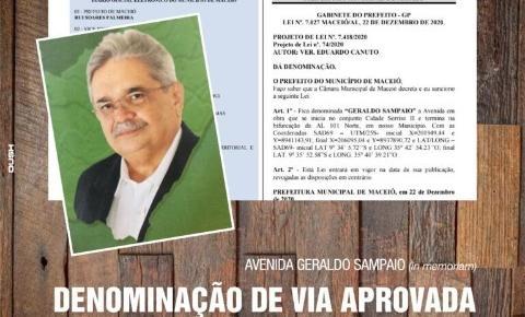 Homenagem e modifica o nome da Ecovia Norte para Avenida Geraldo Sampaio
