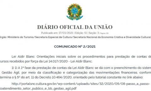 Lei Aldir Blanc: novo comunicado orienta Municípios a prestar contas dos recursos